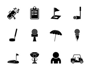 Silhouette golf and sport icons