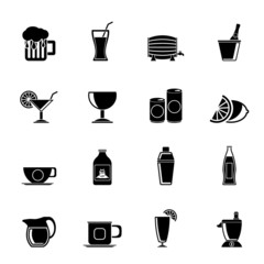 Silhouette beverages and drink icons