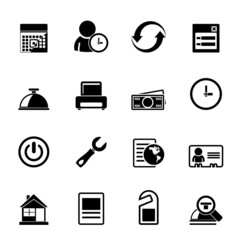 Silhouette reservation and hotel icons