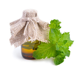Mint with pharmaceutical bottle