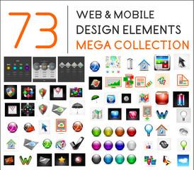 Mega collection of web mobile design elements