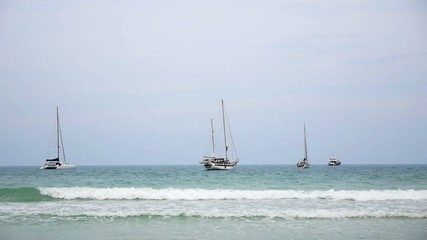 Anchored Boats Dancing on the Foamy Waves. Speed up. Koh Samui.