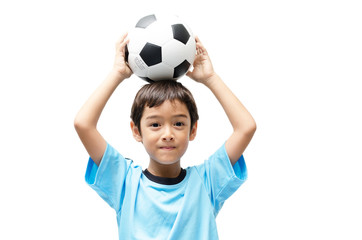 Little boy holding football on white background