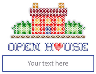 Real Estate Yard Sign, Open House, red heart, retro embroidery
