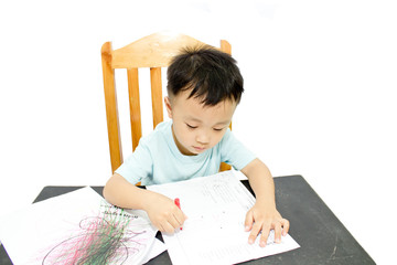 Children doing homework on a desk