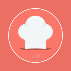 "Cook : Vector ""cook hat"" icon flat design"