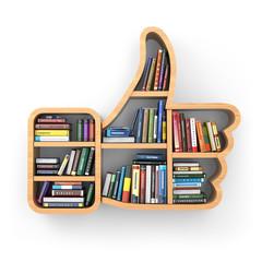 Education concept. Bookshelf with books as like symbol.