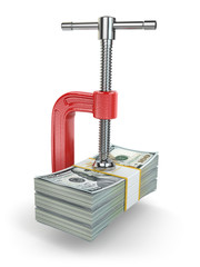 Crisis. concept of reducing costs. Vise and dollars.