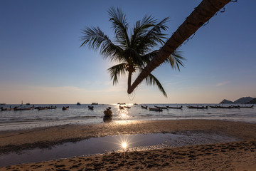 Sunset on tropical beach. Ko Tao island