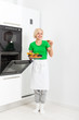 woman cooking taste cookies baking oven tray