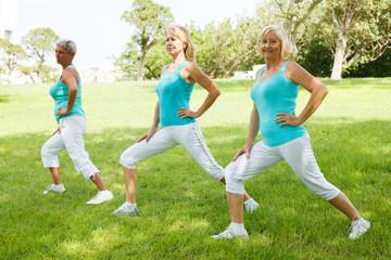 Mature womens doing flexibility exercises