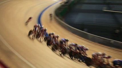 bicycle race speed blurred motion sequence