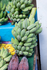 Green banana bunch prepare to sell in the market