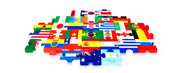 3d puzzle with country flags isolated on white