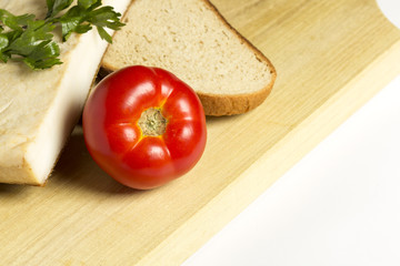 Bacon with tomatoes and bread isolated on white