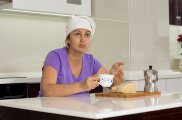 Female cook taking a break from cooking