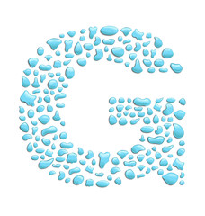 abstract letter g created with water drops