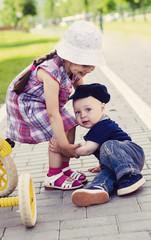 little girl and little boy