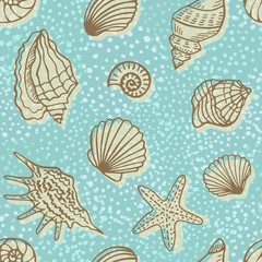 Vintage seamless pattern with shells