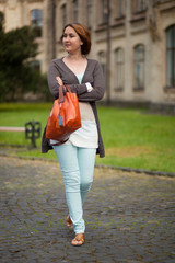 Happy girl in european university