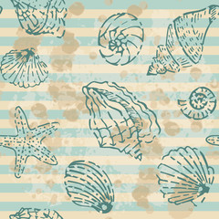 Grunge Sea Seamless pattern. Striped background
