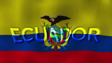Ecuador Flag and Text, Textile Background