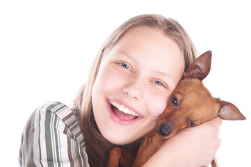 Happy teen girl with her dog