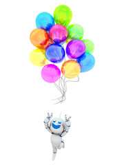 Cartoon Roboter mit Luftballons