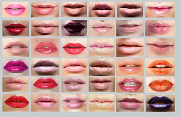 Lipstick. Great Variety of Women's Lips. Set of Mouths