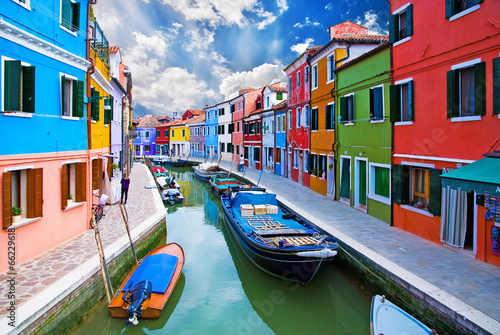 Poster Venetie Venice, Burano island canal