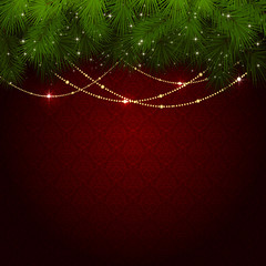 Christmas decoration on red wallpaper