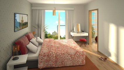rendering of a modern cozy bedroom