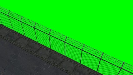 ride along the security fence - green screen