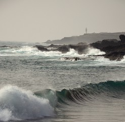 Coast with groundswell and waves, Gran canaria