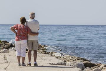 Pareja de ancianos frente al mar