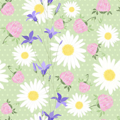 Seamless pattern with wild flowers on the background of with pol