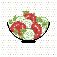 Bowl with vegetables  on a polka dot background. Vector illustra