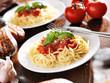 italian food - spaghetti with tomato sauce