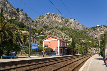 Eze-sur-Mer, France. Railway station