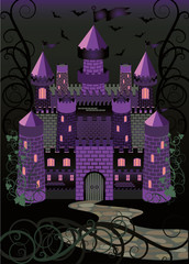 Old witch scary castle background, vector