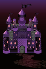 Old witch castle, vector illustration