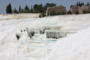 Travertine pools and terraces - Pamukkale Turkey