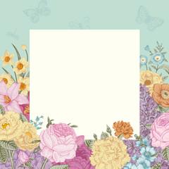 Summer floral vintage vector background.