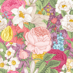 Seamless vector vintage pattern with garden colorful flowers.
