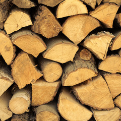 Closeup of firewood as background texture