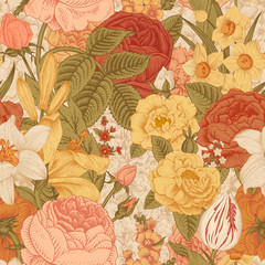 Seamless vector vintage pattern with garden flowers.
