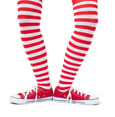 Young girl wearing striped red socks