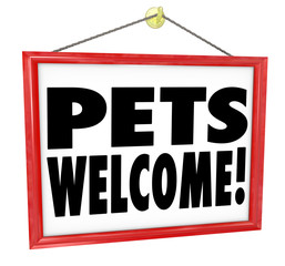 Pets Welcome Allowed Permitted Store Business Building Sign