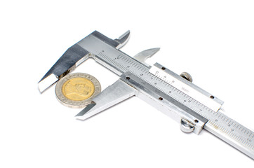 vernier caliper measures the coins