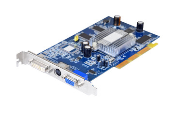 PC video card for computer, isolated on white background, DOF